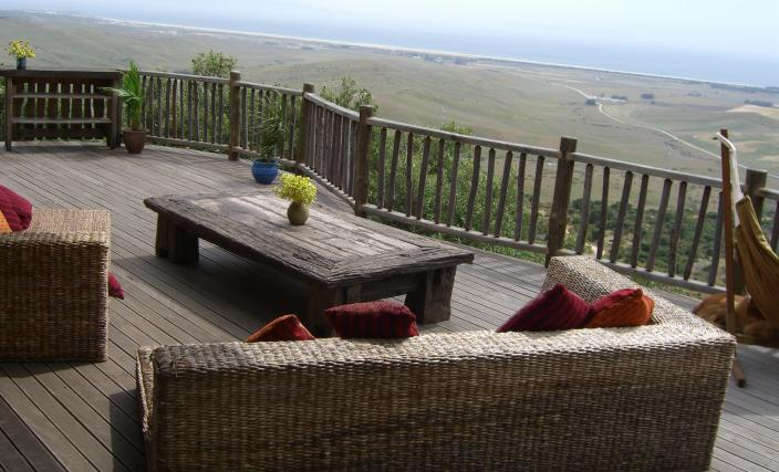 The Tarifa Ecolodge, built and designed by Blue Forest,  has a deck for soaking up the Spanish sun.