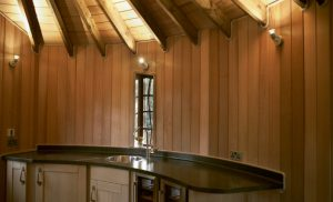 The Sleepy Hollow treehouse, built and designed by Blue Forest, has a modern kitchenette.