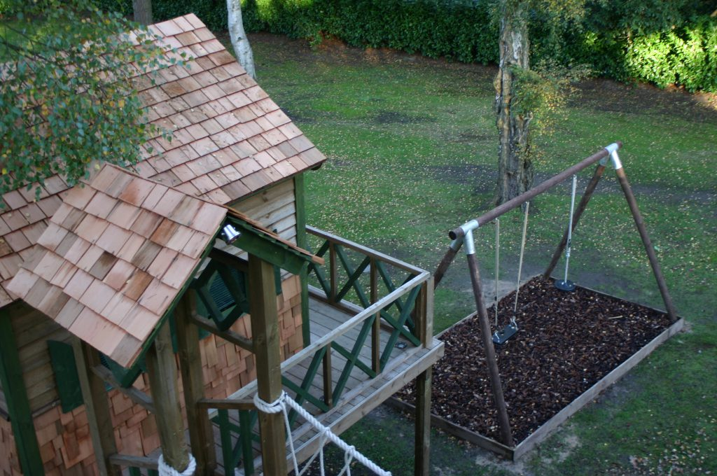 View of play deck and swing set