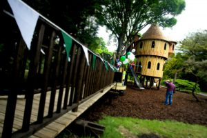 The levels of the Birr Castle treehouse, built and designed by Blue Forest, are linked by various climbing nets, ladders and bridges.