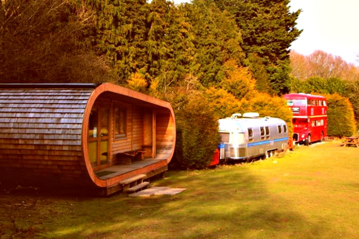 The curvy cabin, built and designed by Blue Forest, in Blackberry Wood campsite.