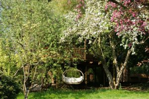 The Willow Nook treehouse, designed and built by Blue Forest, is partly hidden by the colourful foliage of the clients garden.