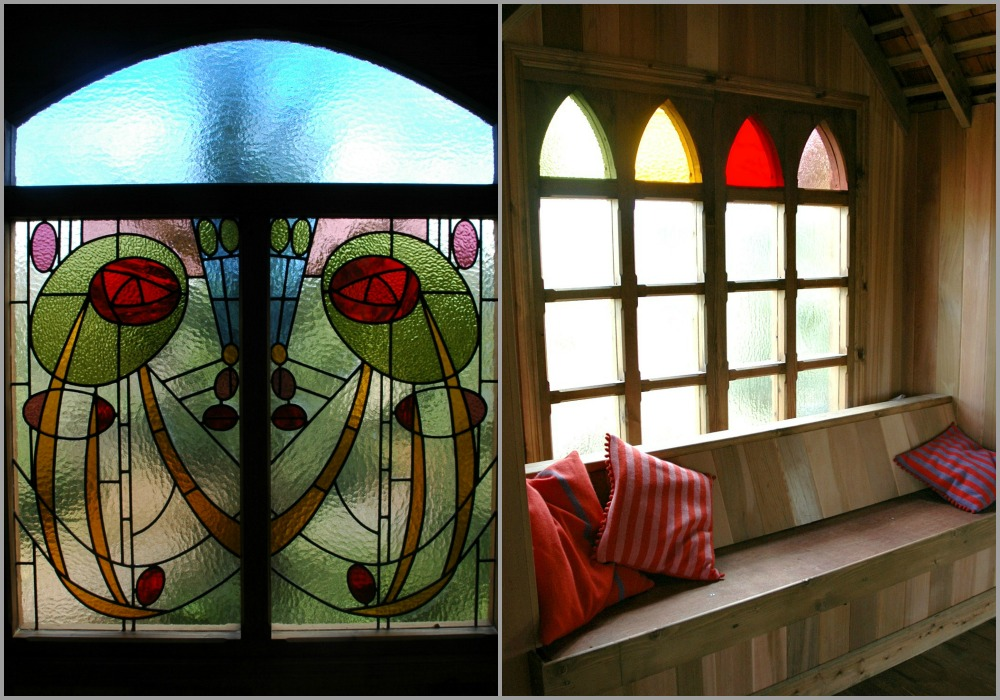 The stained windows of the treehouse castle, built and designed by Blue Forest, provide an old-fashioned feel.