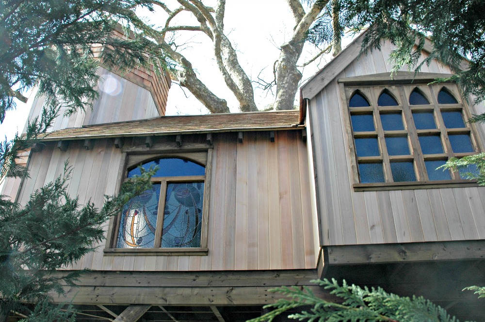 The treehouse castle, built and designed by Blue Forest, commands excellent views of the surrounding wildlife and nearby pond.
