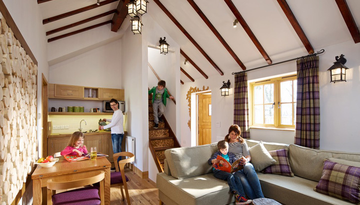 Living area of the treehouse in the Alton Towers Enchanted Village, designed and built by Blue Forest.