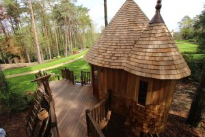 The Enchanted Hideouts, designed and built by Blue Forest, are constructed from premium grade cedar wood.