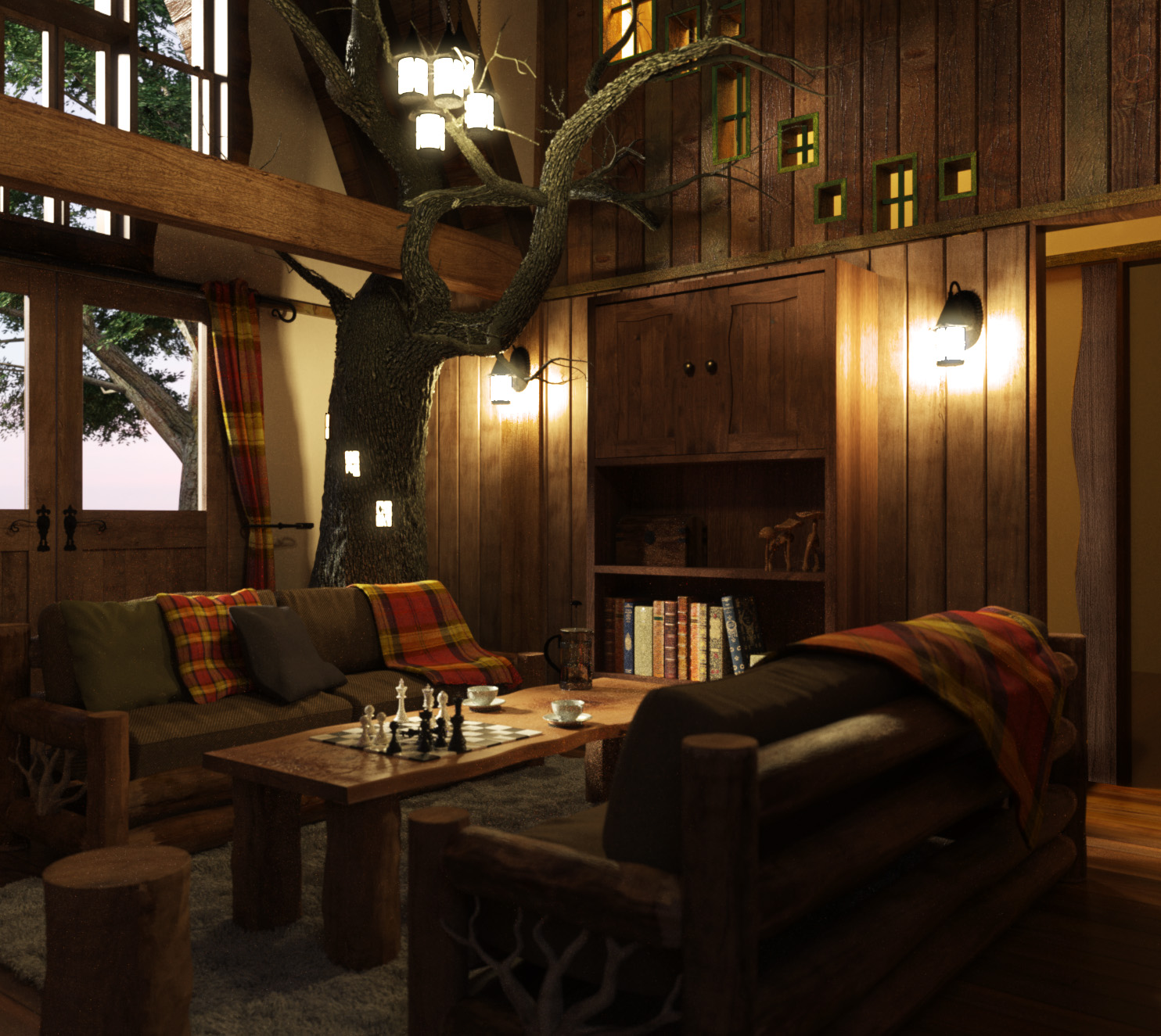 Tree House Interior Designs. Flo\u0027s Design Incorporates A Real Tree  Into The Treehouse