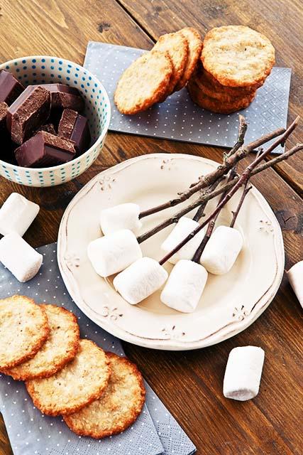 Zutaten um Marshmallows am Feuer zu roesten